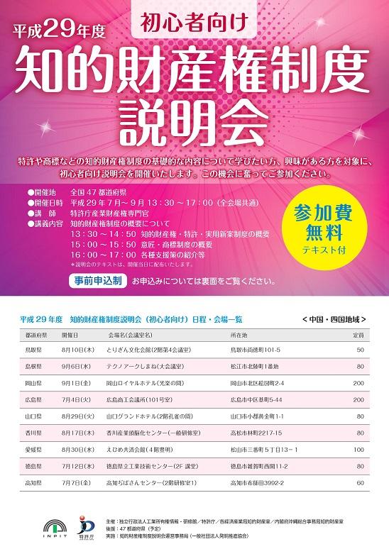 (終了しました)「平成29年度 初心者向け 知的財産権制度説明会」が開催されます!