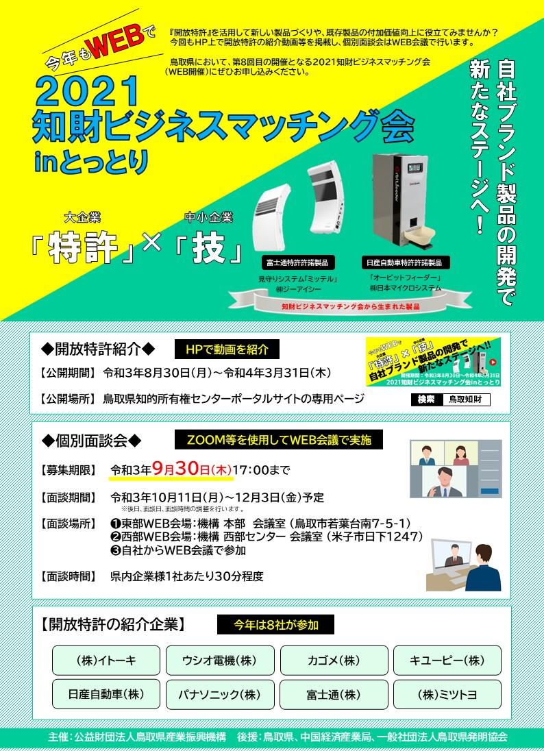 2021知財ビジネスマッチング会inとっとり ■案内チラシ(表紙)